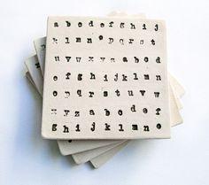 Alphabet Coasters, Ceramic, Pottery, Black and Cream (Set of 4), Great teacher or birthday gift! on Etsy, $30.00