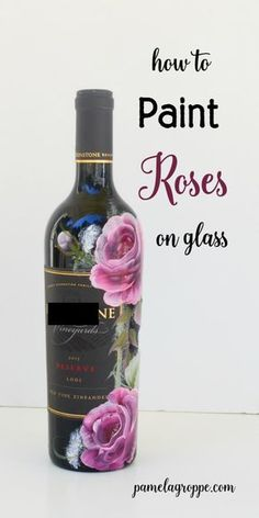 How to Paint Roses on Glass.  A fun tutorial easy enough even for the beginning painter.  Paint glasses, mugs, ceramics and more. Make great one of a kind gifts.