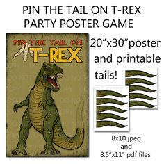 Printable DIY Pin the Tail on Trex Dinosaur by onelovedesignsllc