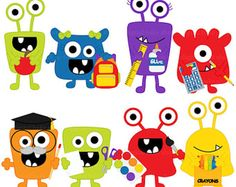 OFF school clip art clipart monsters aliens by DigitalBakeShop Cartoon Monsters, Cute Monsters, Monster Clipart, Monster Crafts, Monster Board, Monster Birthday Parties, Arts And Crafts, Paper Crafts, Simple Cartoon
