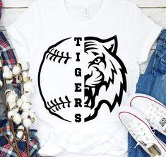 Baseball Shirt Designs, Baseball Mom Shirts, Tigers Baseball, Baseball T, Softball, Tiger Shirt, Uniform Design, Svg File, T Shirts For Women