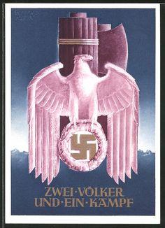 old postcard: AK Zwei Völker und ein Kampf, Bund des Deutschen Reiches mit Italien, Reichsadler mit Hakenkreuz