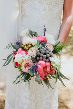 We love the different textures in this bouquet: http://www.stylemepretty.com/little-black-book-blog/2015/02/10/intimate-summer-wedding-at-sunnyside-plantation/ | Photography: Our Labor of Love - http://ourblogoflove.com/