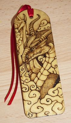 Pyrography Dragon Bookmark by BlueMidna.deviantart.com on @DeviantArt