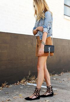 look saia suede blusa listras lace up flat