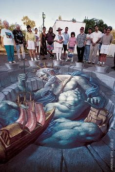 3D Chalk Art / Street Art Illusionistic Street Artist Kurt Wenner