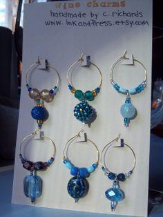 Elegant Blue Beaded Wine Charms by inkandPress on Etsy, $13.50