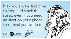 May you always find time to stop and smell the roses, even if you need an alert on your phone to remind you to do it.