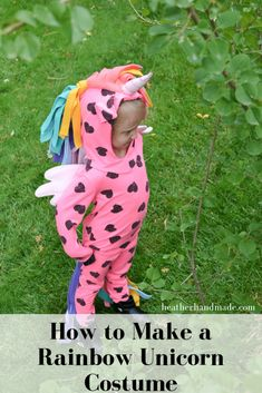 Use this sewing tutorial and learn how to make a rainbow unicorn costume for little girls. I love how unique and fun this Halloween costume is! Sewing Blogs, Sewing Basics, Sewing For Beginners, Sewing Tutorials, Sewing Tips, Handmade Halloween Costumes, Halloween Sewing Projects, Easy Sewing Projects, Halloween Crafts