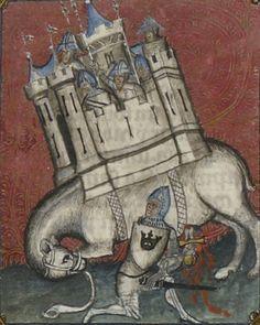 Bibliothèque nationale de France, Français 5707, f. 172r. Guiard des Moulins, Bible historiale. Paris, 1362-1363. Artist: Maître du livre du sacre. One of the more fanciful medieval elephants.