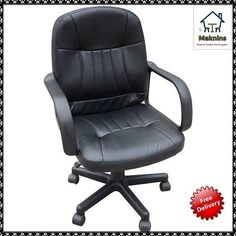Leather Office Chair Executive Desk Home Computer Gaming Swivel Chair Black New