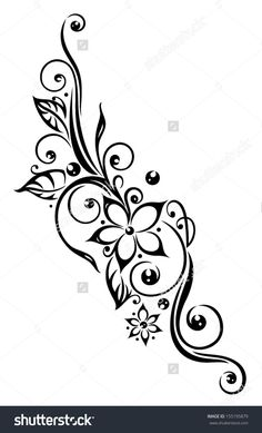 Black flowers illustration, tribal tattoo style.