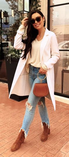 bac27c7e36d  fall  outfits white notched lapel blazer Preppy Fall Outfits
