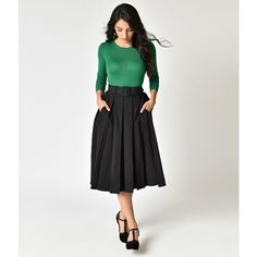 Collectif Black Pleated & Belted Harper Swing Skirt (€60) ❤ liked on Polyvore featuring skirts, black, high waisted pleated skirt, box pleat skirt, circle skirts, knee length pleated skirt and stretch midi skirt