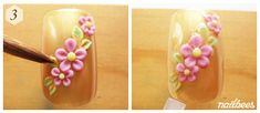Completed Flower Acrylic Nail Design