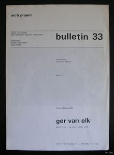 Art & Project # GER van ELK , bulletin 33 # 1971, nm