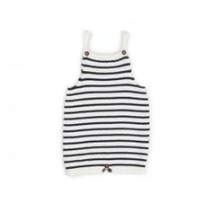 knit romper-white/dark navy stripes