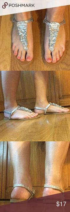 silver sequin sandal worn but still in good condition, perfect for a prom or formal American Eagle by Payless Shoes Sandals