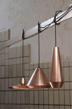 Lighting Design Inspiration - Copper Lamps by David Derksen (made of copper foil) Copper Lamps, Copper Lighting, Pendant Lighting, Pendant Lamps, Interior Lighting, Home Lighting, Lighting Design, Deco Luminaire, Luminaire Design