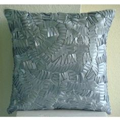 Silver Mist - Decorative Pillow Covers - Silk Pillow Cover Embroidered with Satin Ribbons :     Price: $39.95    .        Silver Mist - Decorative Throw Pillow Cover. This pillow cover is made using Silver Grey color satin ribbons embroidered on an art silk dupioni fabric, to give it a satiny misty feel. The back of the pillow is the same Silver Grey Silk Dupioni fabric with a flap covered zi...Check Price >> http://gethotprice.com/appin/?t=B004W0F3S8