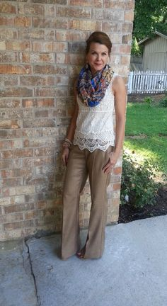 Woven pants w/crochet top & scarf Boho Fashion Over 40, Work Fashion, Fashion Outfits, Fall Outfits, Teaching Outfits, Professional Dresses, Work Wardrobe, Work Attire, Comfortable Fashion