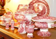 Red and white transferware - I collect it!