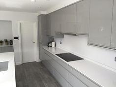 A contemporary grey gloss kitchen shown in silver grey finish. Morden Kitchen Design, Grey Kitchen Designs, Kitchen Room Design, Interior Design Kitchen, Kitchen Layout, Kitchen Ideas, Glossy Kitchen, White Gloss Kitchen, Gray And White Kitchen