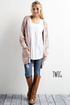 Side Pocket Acrylic Wool Cardigan - Debs Boutique  LLC