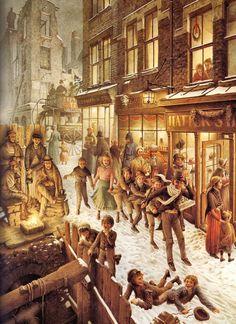 """lustración de Roberto Innocenti ,  del libro """"Cuento de Navidad"""",  de Charles Dickens.  Editorial Lumen, 1990,  libro  que conservo en mi  biblioteca como """"Oro en paño""""..."""