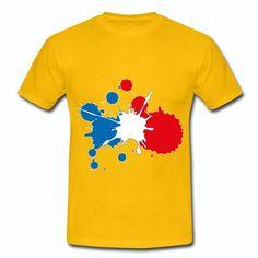 T-shirt Jaune France Supporter bleu blanc rouge: Tache de peinture BBR