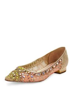 S1K3D Rene Caovilla Jeweled Lace Pointed-Toe Flat, Gold