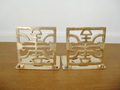 Square asian style solid brass bookends by Sweetpotatojack on Etsy, $26.00