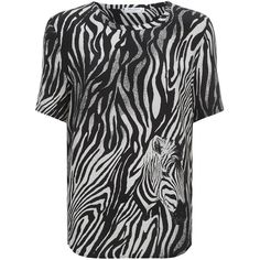 Equipment Riley Zebra Top (530 BGN) ❤ liked on Polyvore featuring tops, equipment tops, zebra print tops, animal print tops, zebra top and silk top