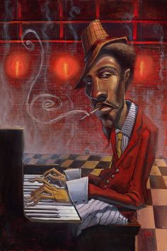 Love Justin Bua's art, and love a dark smokey bar.  There's not enough jazz in the world today. Can't you just smell it?