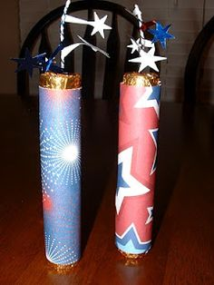 4th of July firecracker favors filled with Rolo candy