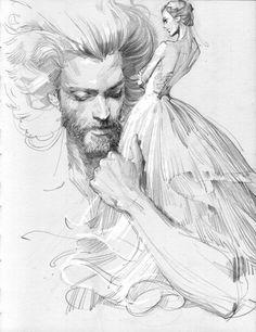 line&sketch 2 by zhang weber, via Behance Portrait Au Crayon, Pencil Portrait Drawing, Pencil Art, Illustration Fantasy, Portrait Illustration, Illustration Pictures, Pencil Illustration, Animal Drawings, Art Drawings