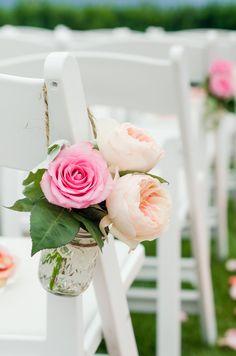 Floral Mason Jar Aisle Decor | George Street Photo & Video | TheKnot.com