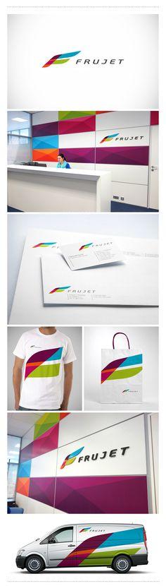 Logo and identity for fruit logistic company Frujet. Логотип и корпоративный стиль Frujet. - компании поставщика фруктов