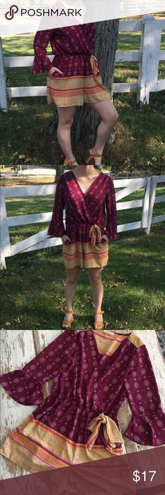 Living Doll romper Love the fall colors and an easy piece to grab for dress up or for fun! Paired with a wedge sandal = 👍....eye hook closure at front so it stays closed. A roomy fit where a tank would be fine underneath. living doll Pants Jumpsuits & Rompers
