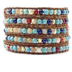 Lotus mann7 turcos coral natural gem 5 wraps self-shade bracelet brown