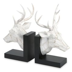 Masculine but ethereal, these deer busts are a graphic and bold accent to any bookshelf.  IMAX Joseph Deer Book Ends | AllModern ($78)
