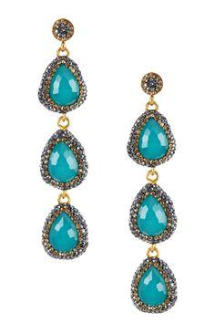 Triple Teardrop Stone Earrings