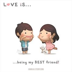 HJ-Story :: Love is… being my bestfriend! Hj Story, Cute Love Stories, Love Story, Love Cartoon Couple, Cute Love Cartoons, Emotion, Cute Comics, Love Images, Cute Love Pictures