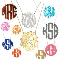 Monogrammed Jewelry and I want one like this with the matching stud earrings HINT HINT lol