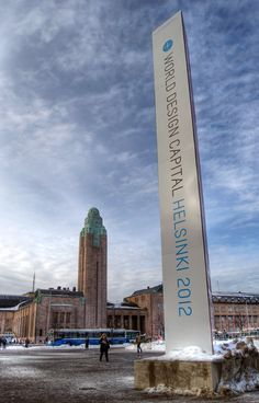HDR photo of World Design Capital 2012 ad at Central Railway Station in Helsinki, Finland.