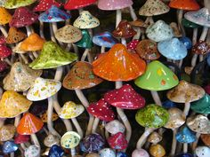 Ceramic mushrooms.  This would be a fun project with the kids.