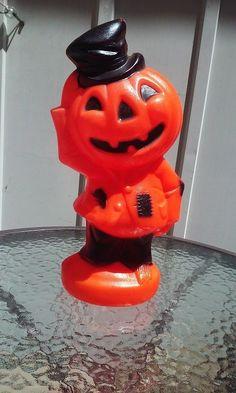 "Vtg 14"" Empire Halloween Top Hat Pumpkin Jack O Lantern Blow Mold Decor 1969"