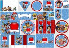 Paw Patrol in Red and Blue: Free Printable Party Kit. Imprimibles Paw Patrol, Paw Patrol Party Invitations, Paw Patrol Stickers, Paw Patrol Birthday Theme, Paw Patrol Decorations, Cumple Paw Patrol, Bar A Bonbon, Paw Patrol Cake, Kids Party Themes
