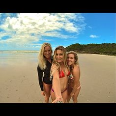 Bethany Hamilton (left) Alana Blanchard (front) and Leila Hurst (right).. 3 of my most inspirational girls. Wish I could surf like them