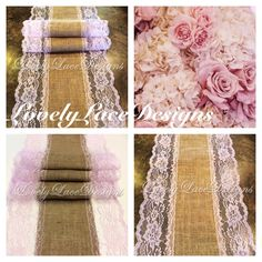 Burlap Lace Table Runner/ blush Pink Lace, 6ft-10ft x 13in Wide/Wedding Decor/Etsy finds/ Home Decor/ Gifts for home/etsy trends/weddings by LovelyLaceDesigns on Etsy